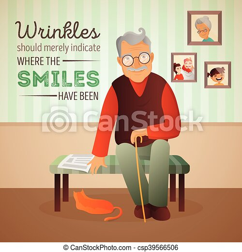 γριά , δωμάτιο , κάθονται , καναπέs , εικόνα , γάτα , μικροβιοφορέας , εφημερίδα. , άντραs  - csp39566506