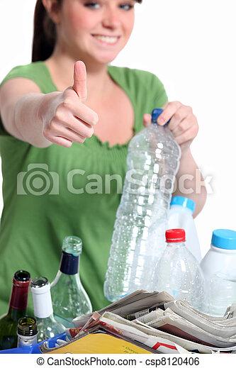 γυναίκα ανακυκλώνω , δέμα , νέος , πλαστικός  - csp8120406