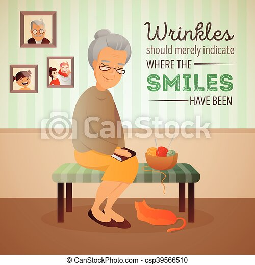 γυναίκα , γριά , δωμάτιο , κάθονται , καναπέs , εικόνα , γάτα , μικροβιοφορέας , πλέξιμο , tools. - csp39566510