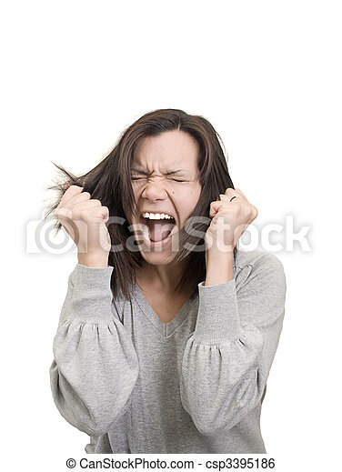 γυναίκα , διασκεδαστικότατος άνθρωπος , αυτήν , μαλλιά , ματαίωση , αντέχω μέχρι τέλους  - csp3395186