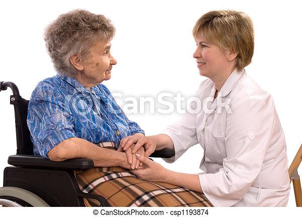 γυναίκα , ηλικιωμένος  - csp1193874