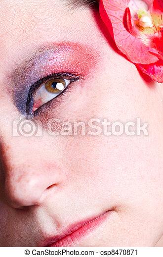 γυναίκα , πάνω , φτιάχνω , μάτι  - csp8470871