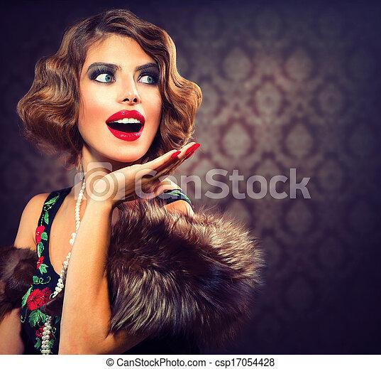 γυναίκα , φωτογραφία , αιχμηρή απόφυση , lady., portrait., retro , κρασί , έκπληκτος  - csp17054428