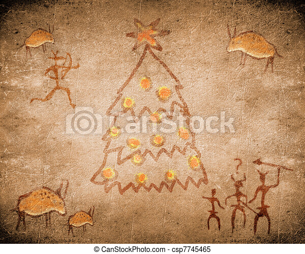 δέντρο , προϊστορικός , ζωγραφική , βυθίζομαι , xριστούγεννα  - csp7745465