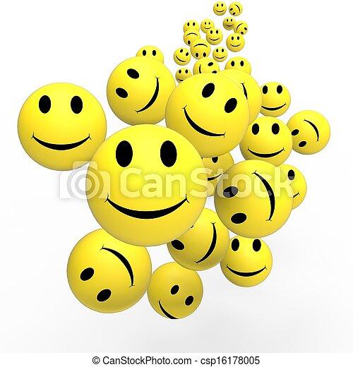δείχνω , θετικός , smileys, αντικρύζω , ευτυχισμένος  - csp16178005