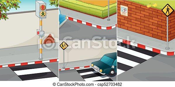 διάβαση , γεγονός , δρόμοs , zebra - csp52703482