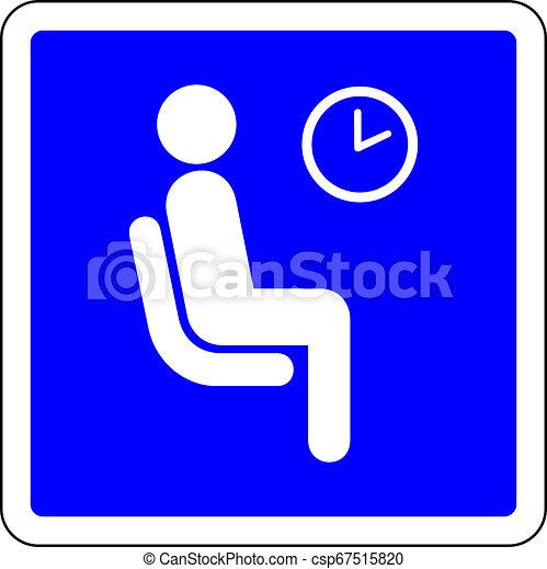 διαθέσιμος , μπλε , αίθουσα αναμονής , σήμα  - csp67515820