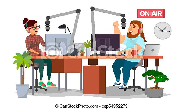 διαμέρισμα , γυναίκα , dj , μοντέρνος , απομονωμένος , αδιακανόνιστοσ. , microphone., θέση , ραδιόφωνο , εικόνα , vector., άντραs , studio., γελοιογραφία , broadcasting., μιλώ  - csp54352273