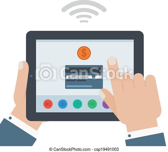 διαμέρισμα , κράτημα , δισκίο , κινητός , απομονωμένος , χέρι , πιστώνω , σχεδιάζω , φόντο , πληρωμή , κάρτα  - csp19491003