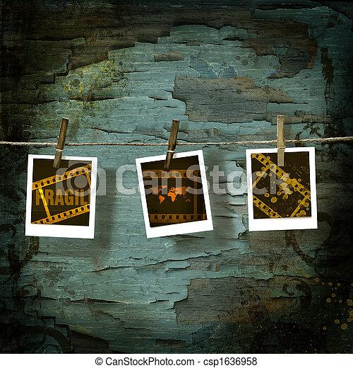 διασπώ , γριά , polaroid , εναντίον , backdrop , εικόνες  - csp1636958