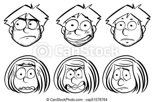 διαφορετικός , γυναίκα , εκφράσεις , του προσώπου , άντραs  - csp51578764