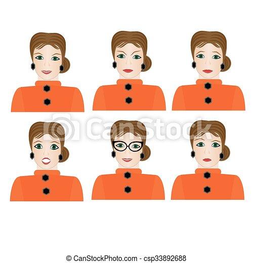 διαφορετικός , γυναίκα , expressions., του προσώπου  - csp33892688