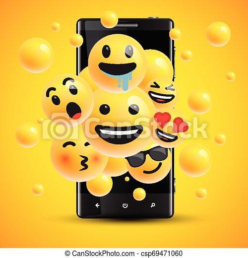 διαφορετικός , smileys, εικόνα , ρεαλιστικός , μικροβιοφορέας , αντιμετωπίζω , cellphone  - csp69471060