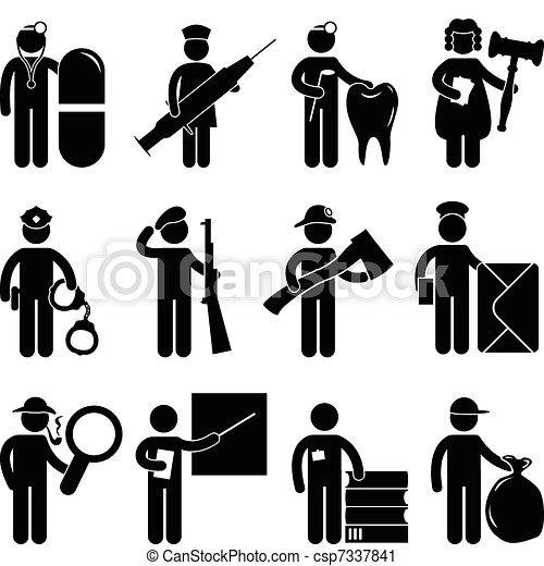 δικαστήs , νοσοκόμα , αστυνομία , οδοντίατρος , γιατρός  - csp7337841