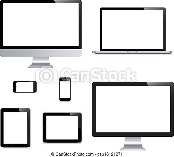 δισκίο , απομονωμένος , laptop , ηλεκτρονικός υπολογιστής , φόντο , άσπρο , smartphone, εκθέτω  - csp18121271