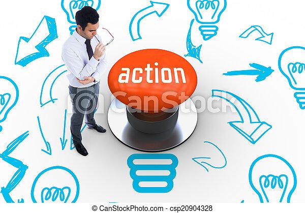 δράση , πορτοκάλι , κουμπί , σπρώχνω , εναντίον  - csp20904328