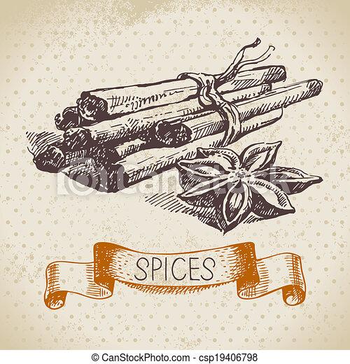 δραμάτιο , κρασί , χέρι , βοτάνι , κανέλλα , φόντο , μετοχή του draw , spices., κουζίνα  - csp19406798