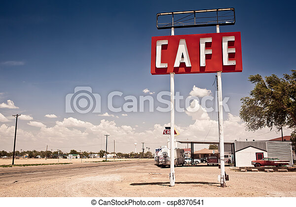 δρόμος , σήμα , ιστορικός , 66 , texas., κατά μήκος , καφετέρια  - csp8370541