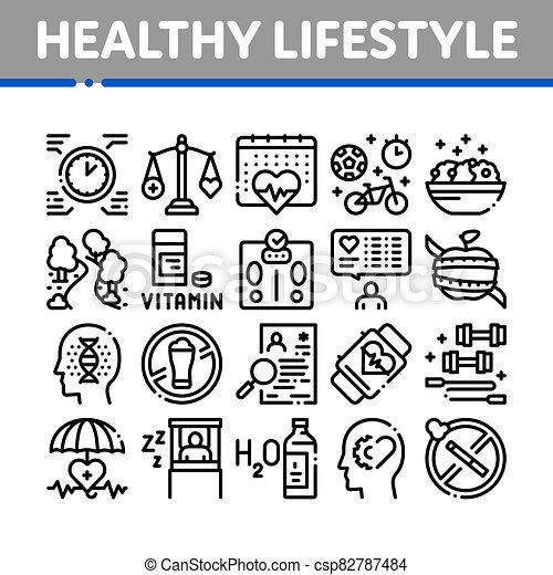 δυναμωτικός lifestyle , μικροβιοφορέας , συλλογή , θέτω , απεικόνιση  - csp82787484