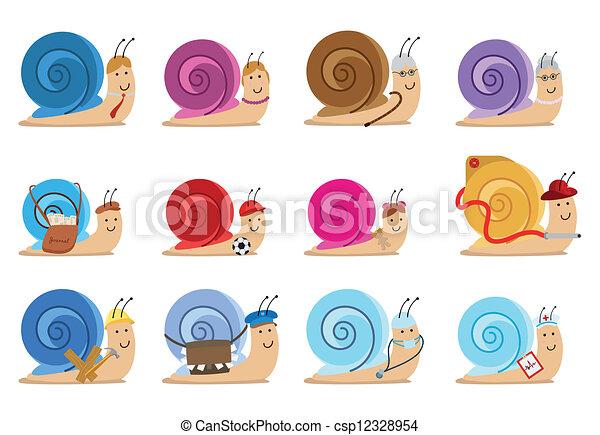 δώδεκα , θέτω , σαλιγκάρι , γράμμα  - csp12328954