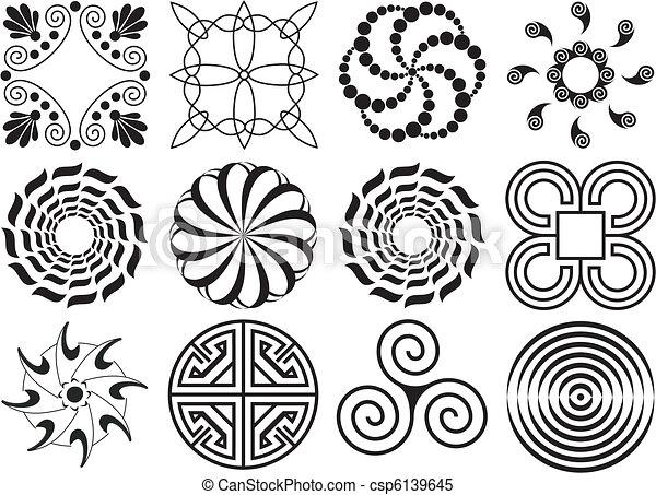 δώδεκα , & , στοιχείο , σχεδιάζω , μαύρο , άσπρο  - csp6139645