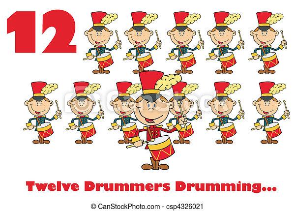 δώδεκα , τυμπανίζω , drummers  - csp4326021