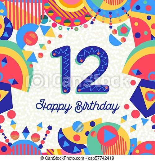 δώδεκα , 12 , χαιρετισμός , αριθμόs , γενέθλια , έτος , πάρτυ , κάρτα  - csp57742419