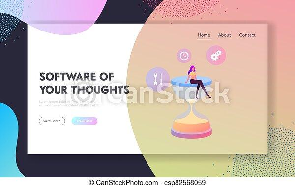 εικόνα , γελοιογραφία , productivity., φόρμα , κλεψύδρα , διεύθυνση , κάθονται , μικροσκοπικός , αναμονή , αναβολή , ώρα , update., σελίδα , μικροβιοφορέας , εργαζόμενος , προσγείωση , γυναίκα , χαρακτήρας , διαδικασία , λογισμικό , multitasking , πελώρια  - csp82568059