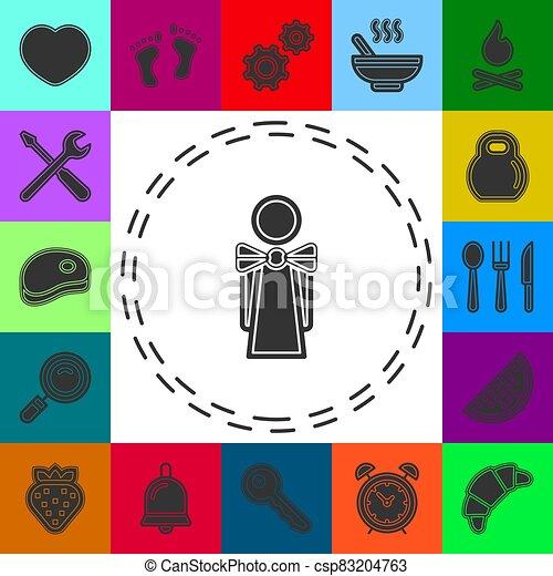 εικόνα , κορίτσι , σερβιτόρα , γκαρσόνι , περίγραμμα  - csp83204763