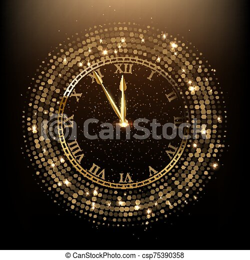 εικόνα , μικροβιοφορέας , χρυσαφένιος , λαμπερός , ρολόι  - csp75390358