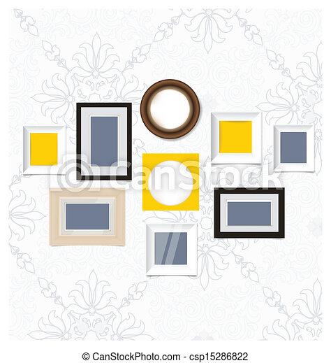 εικόνα , τέχνη , φωτογραφία , wall., αποτελώ το πλαίσιο , μικροβιοφορέας , κρασί , eps10, γκαλερί  - csp15286822