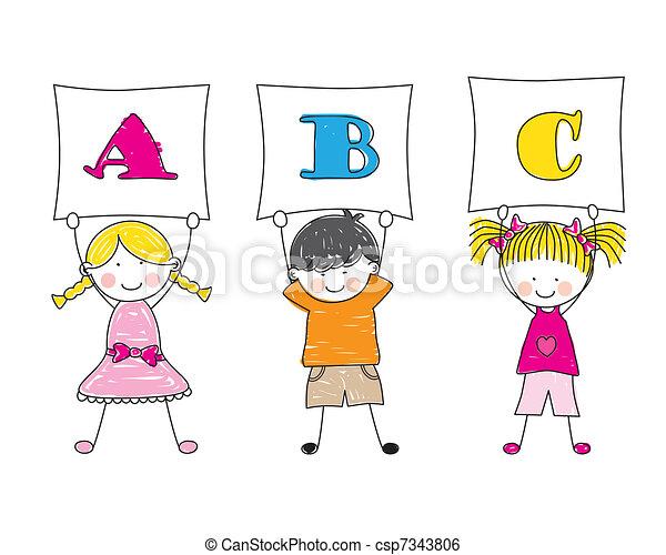 εκδήλωση , γράμματα , παιδιά  - csp7343806
