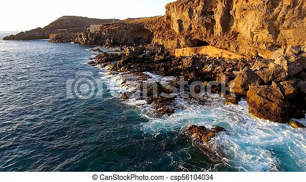 εναέρια , νησί , tenerife , τμήμα , ηλιοβασίλεμα , ακτογραμμή , ώρα , νότιο , βλέπω  - csp56104034
