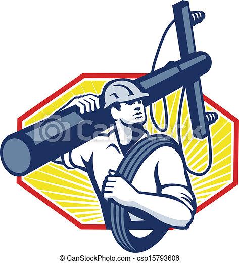επιδιορθωτής τηλεφωνικών συρμάτων , δύναμη ακροδέκτης , μεταφέρω , repairman , ηλεκτρικός  - csp15793608