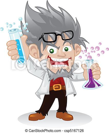 επιστήμονας , χαρακτήρας , τρελός , γελοιογραφία  - csp5167126