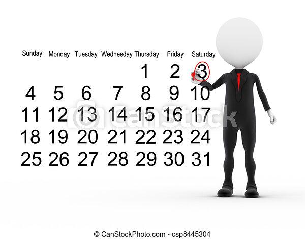 επιχειρηματίας , ημερολόγιο , απασχολημένος , 3d , πρόγραμμα  - csp8445304
