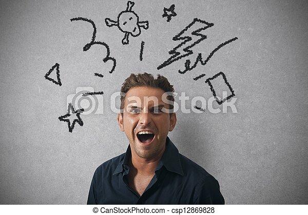 επιχειρηματίας , θυμωμένος , έκφραση  - csp12869828