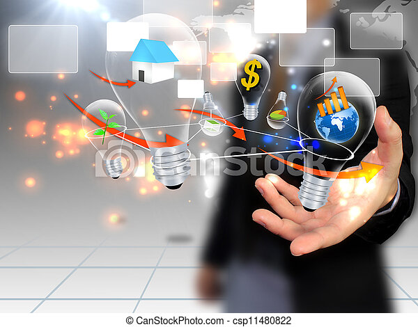 επιχειρηματίας , κοινωνικός , κράτημα , μέσα ενημέρωσης  - csp11480822
