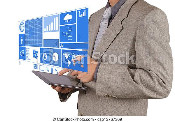 επιχειρηματίας , μοντέρνος τεχνική ορολογία , εργαζόμενος , χέρι  - csp13767369