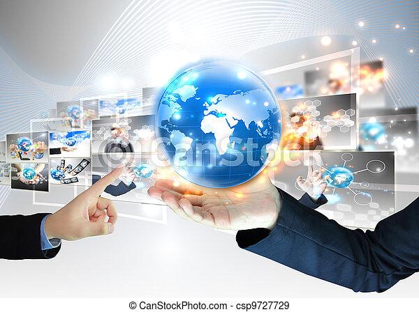 επιχειρηματίας , .technology, γενική ιδέα , κράτημα , κόσμοs  - csp9727729
