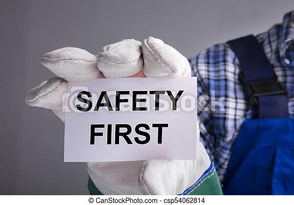 εργάτης , πρώτα , ασφάλεια , εκδήλωση , σήμα  - csp54062814