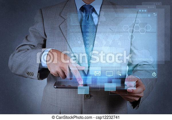εργαζόμενος , επιχειρηματίας , μοντέρνος , χέρι , τεχνολογία  - csp12232741
