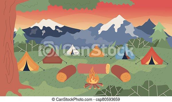 ερεθιστικός , όμορφος , φωτιά κατασκήνωσης , θέα βουνών , μικροβιοφορέας , τριγύρω , γελοιογραφία , διαμέρισμα , φύση , sitting., evening., style., ακατέργαστος κορμός δένδρου , εικόνα , τοπίο , αντίσκηνο , γενική ιδέα , camping. - csp80593659