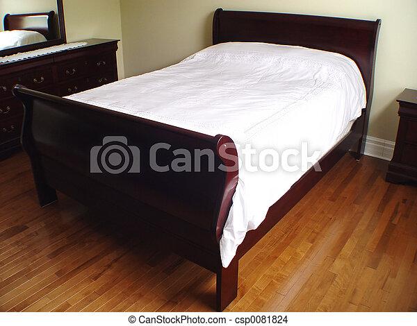 εσωτερικός , κρεβάτι , κρεβατοκάμαρα  - csp0081824