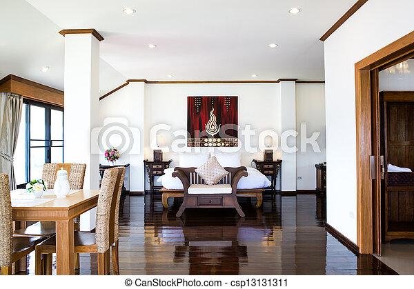 εσωτερικός , ξενοδοχείο , μοντέρνος δωμάτιο , αναπαυτικός  - csp13131311