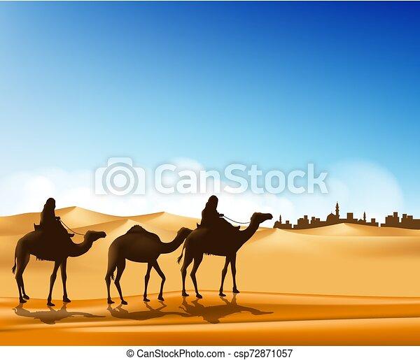 ευρύς , σύνολο , άνθρωποι , καραβάνι , άραβας , ρεαλιστικός , καμήλες , άμμος , ιππασία , εγκαταλείπω  - csp72871057