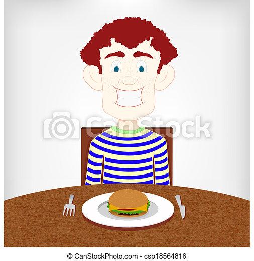εφηβική ηλικία , burger., πεινασμένος  - csp18564816
