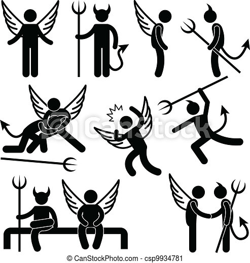 εχθρός , σύμβολο , διάβολοs , άγγελος , φίλοs  - csp9934781