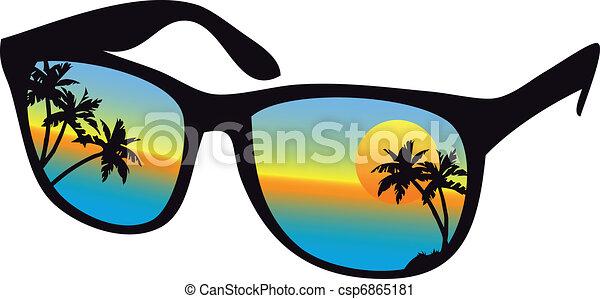 ηλιοβασίλεμα , γυαλλιά ηλίου , θάλασσα  - csp6865181