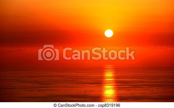 θαλασσογραφία , ηλιοβασίλεμα  - csp8319196